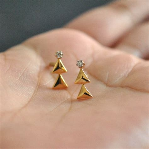 studs tiny tree earrings 14k yellow gold and