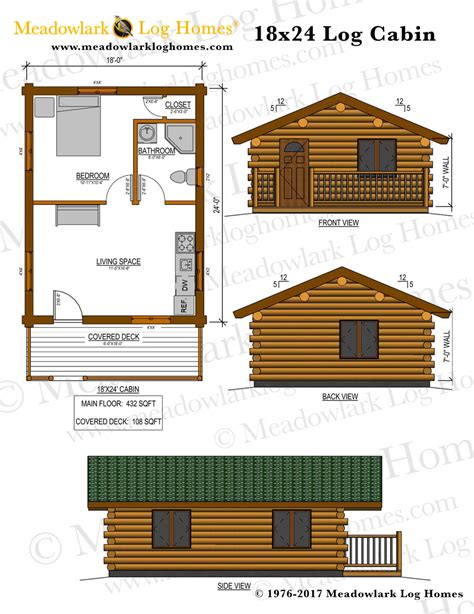 log cabin blueprints 18x24 log cabin meadowlark log homes