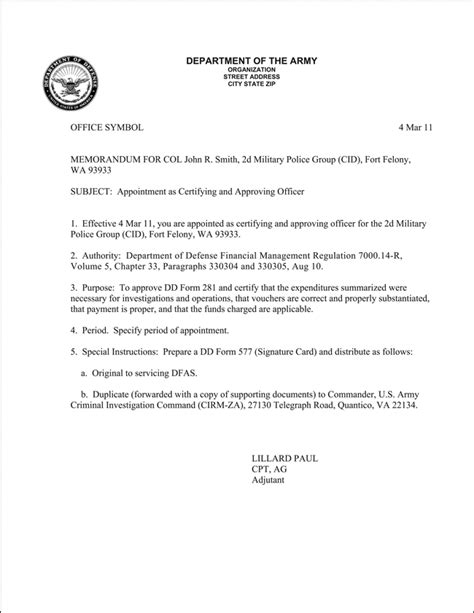 navy appointment letter format best photos of army justification memo exle army