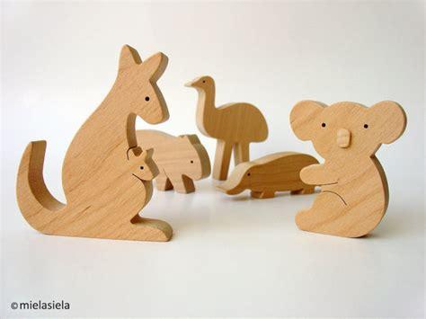Handmade Wooden Toys Australia - australian animals kangaroo koala wombat emu