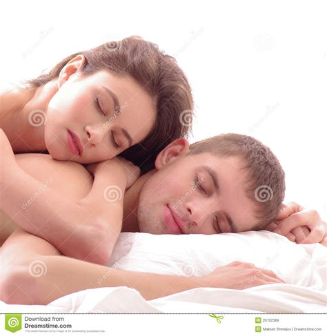 lovers in bed a couple of young lovers sleeping together royalty free