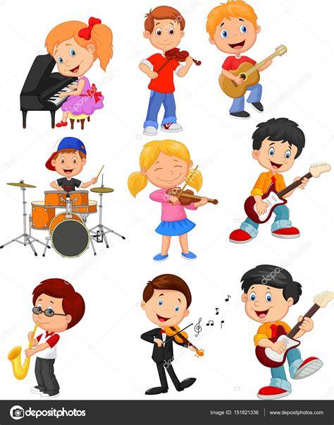 imagenes animadas musica dibujos animados poco ni 241 os tocando m 250 sica vector de