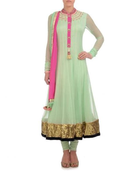 Pista Green Color Long Anarkali Suit Panache Haute Couture | pista green color long anarkali suit panache haute couture