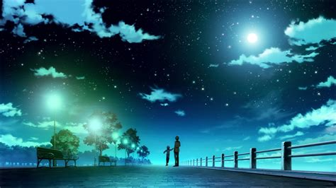 starry night sky girl anime perfect pictures anime blue starry sky beautiful night