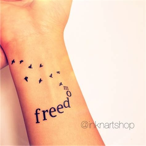 writing on wrist tattoo 2pcs freedom with flying birds inknart temporary