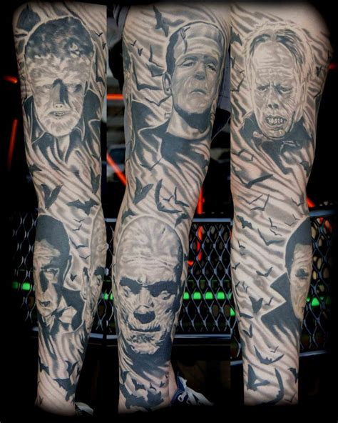 classic horror movie sleeve tattoo pictures at