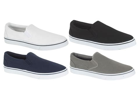 mens plimsoles slip on pumps trainers espadrilles shoes