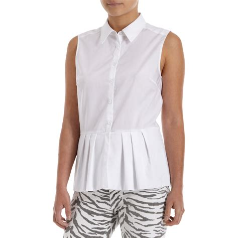 White Peplum Blouse barneys new york peplum blouse in white lyst