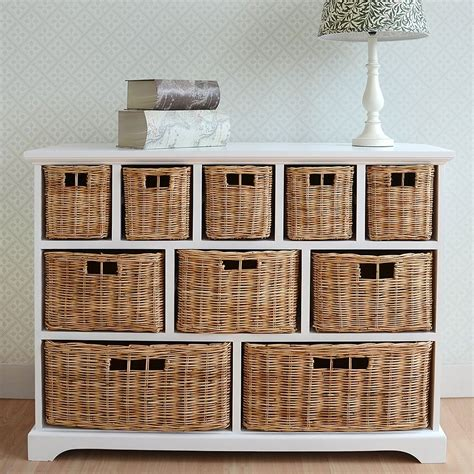 White Wicker Bathroom Drawers - tetbury wide storage chest with wicker baskets bedroom furniture direct
