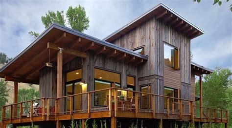 shed style roof this shed roof style home is near ketchum idaho the vertical recycled wood siding and