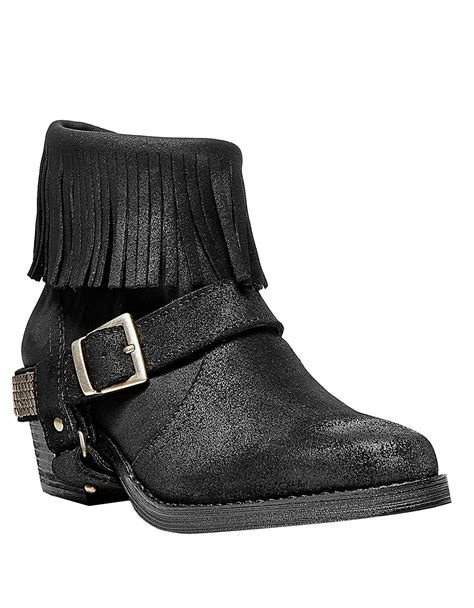 steve madden fringe boots steve madden cavvo leather fringe ankle boots in black lyst