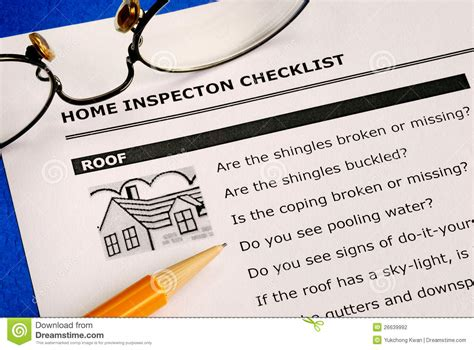real estate home inspection checklist stock photography