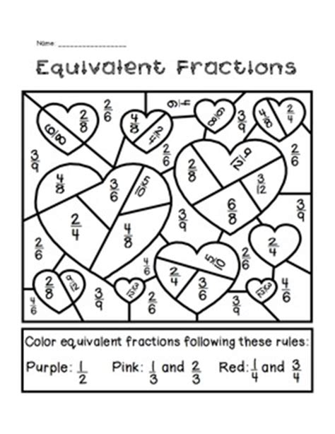 Equivalent Fractions Coloring Page