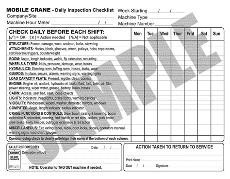 Daily Inspection Checklist For Mobile And Vehicle Loading Cranes Crane Log Book Template