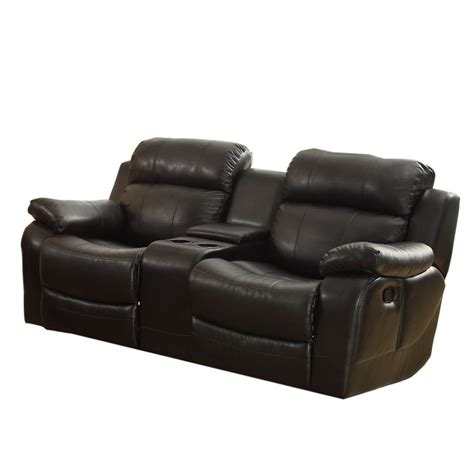reclining loveseat with console leather homelegance marille double glider reclining loveseat w