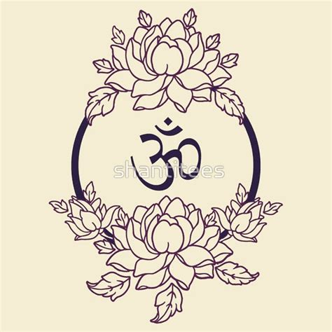 lotus tattoo with om symbol quot om symbol in lotus flower mandala line version quot t