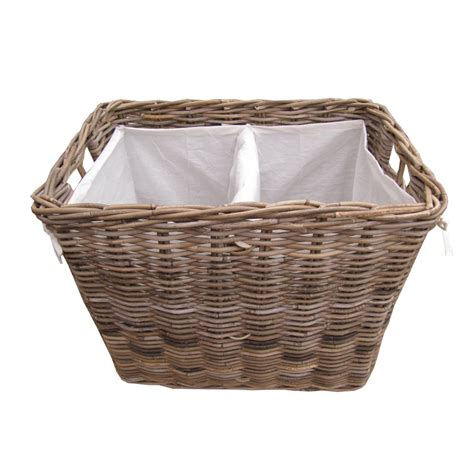 laundry basket grey buff rattan rectangular laundry basket
