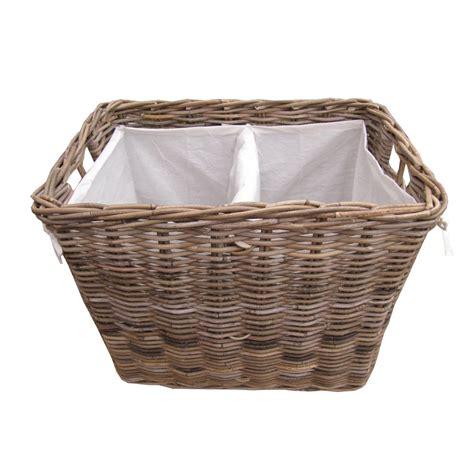 sectioned laundry basket grey buff rattan rectangular laundry basket