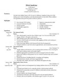 job description for babysitter resume 2