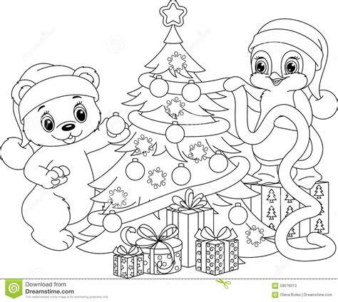 santa bear coloring page christmas tree coloring page stock vector image 59076013