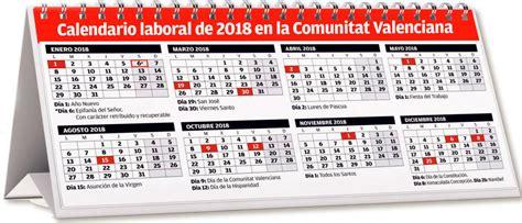 Calendario 2018 Valencia Calendario Laboral 2018 Comunidad Valenciana