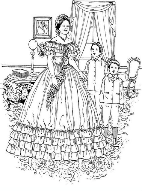 coloring pages for adults victorian realistic coloring pages of victorian woman for adults