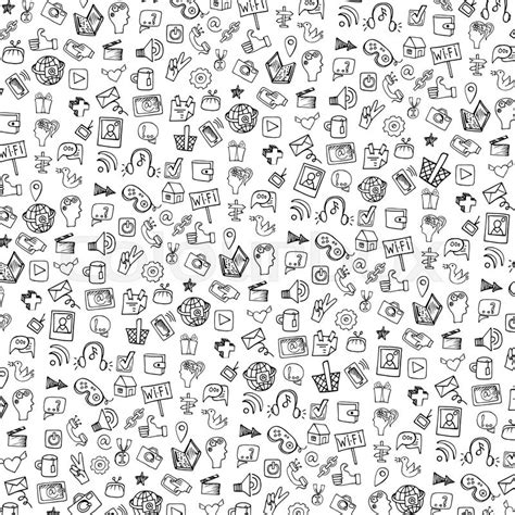 icon pattern svg social media icons pattern in doodle sketchy on notepaper