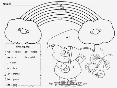 coloring page with color words sight word colouring pages images