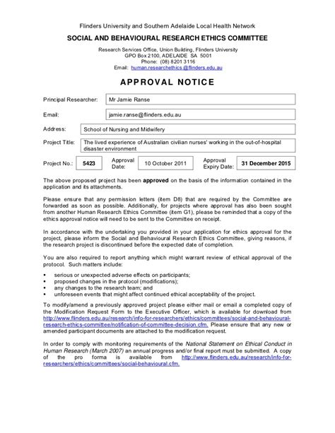 Release Letter Flinders National Ethics Application Form