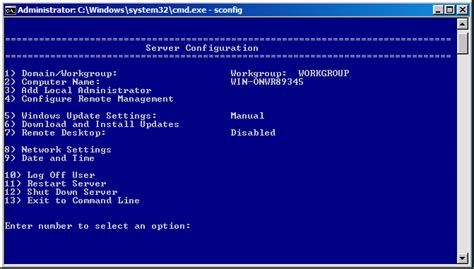 reset bios from cmd configuring a server core installation of windows server