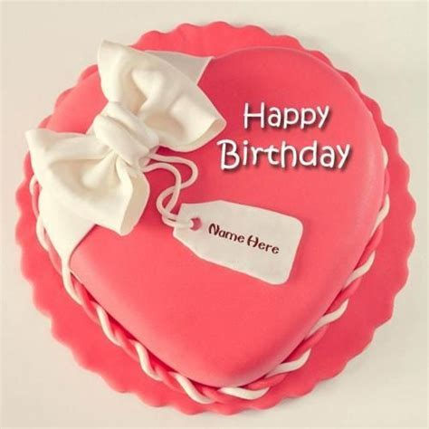 generate pink color happy birthday heart shape cake name