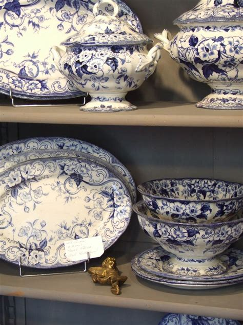 french collectibles blue  white flora  french