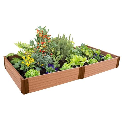 Frame It All Raised Garden Beds Frame It All One Inch Series 4 Ft X 8 Ft X 11 In Classic Composite Raised Garden Bed