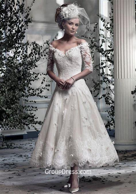 Off the shoulder Romantic Lace V neck Tea Length A line Wedding Dress   GroupDress.com