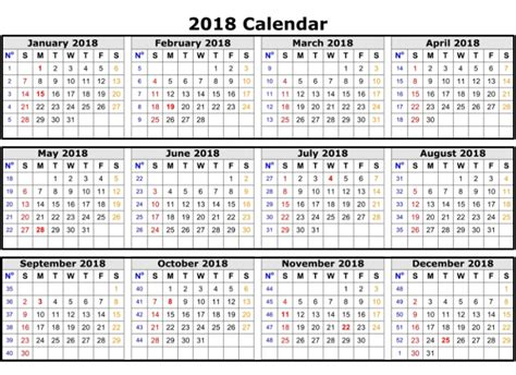 2018 Calendar Excel Template One Page Monthly Yearly 2018 Yearly Calendar Template Excel