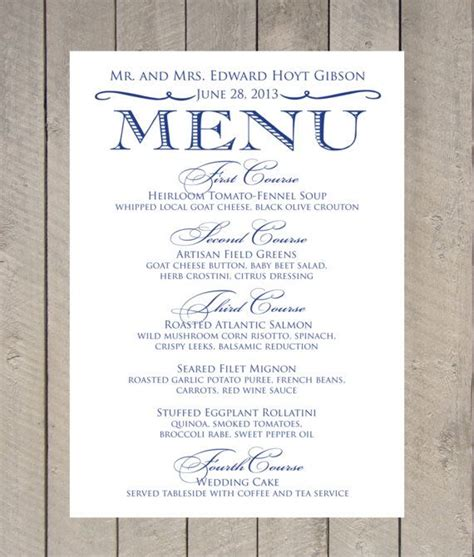 printable menu cards for wedding reception vintage menu card diy printable wedding by