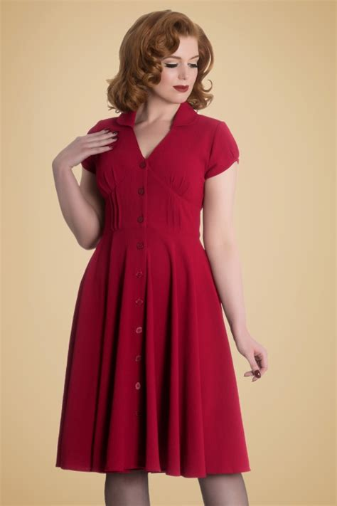 40s swing 40s keely swing dress in red