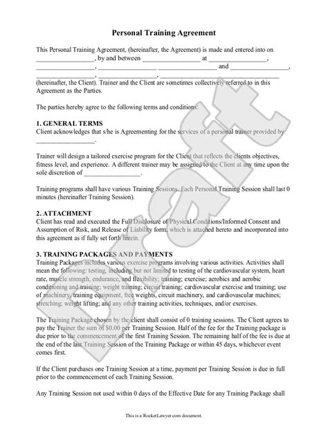 Personal Trainer Forms Personal Training Contract Agreement Template Personal Training Free Fitness Waiver Template