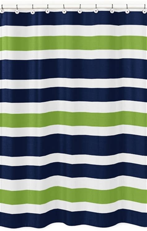 Navy And Green Curtains Designs Navy Blue And Lime Green Stripe Bathroom Fabric Bath Shower Curtain Only 39 99