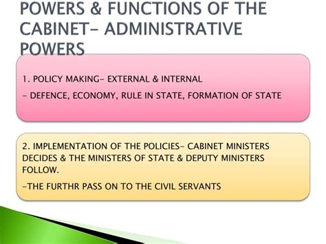 functions of the cabinet ppt prime minister council of ministers powerpoint