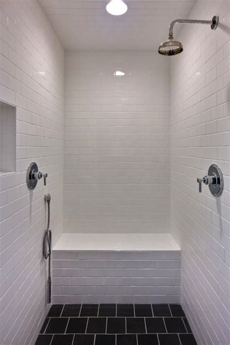 Surround Shower Heads Shower Black Tiles And White Subway Tiles On