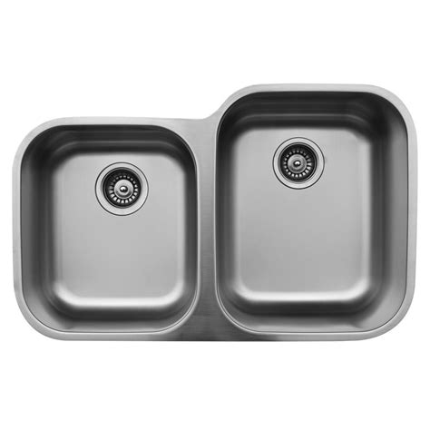 60 40 stainless steel karran undermount stainless steel 32 in 40 60 double bowl