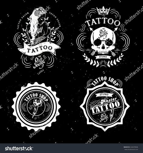 tattoo studio logo vector set vector tattoo studio logo templates stock vector