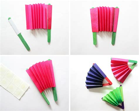 How To Make A Paper Fan On A Stick - craft how to make a paper fan the craftables