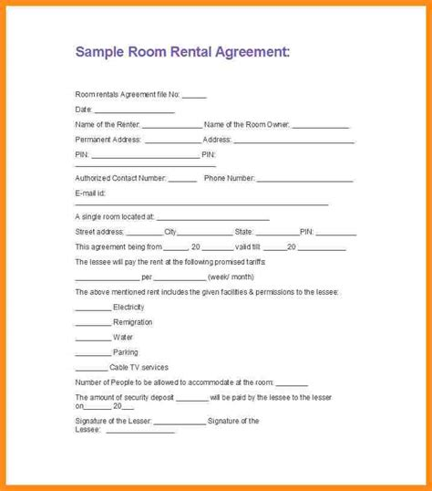 7 simple room rental agreement form parts of resume