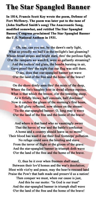 Printable Version Of Star Spangled Banner | star spangled banner lyrics printable version the star
