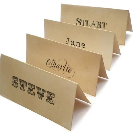 personalised place cards vintage style by edgeinspired