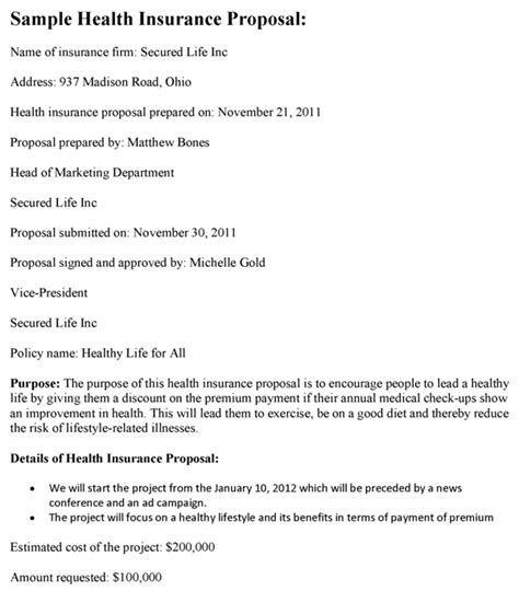 health care proposals template health insurance template