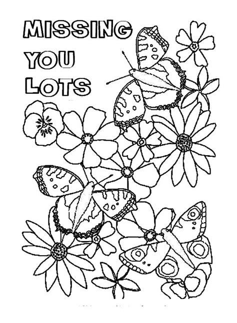 butterfly lands on flowers i miss you coloring pages