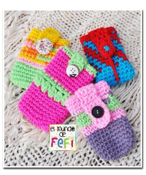 porta fan bebe tejido al crochet el mundo de fefi portacelulares tejidos al crochet